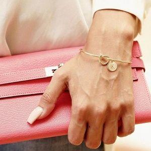 Jewelry - Letter C charm rose gold knot bracelet